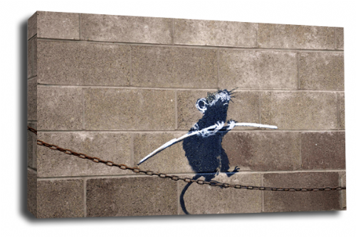 Banksy Art Floating Tightrope Rat Canvas Peace Love Picture